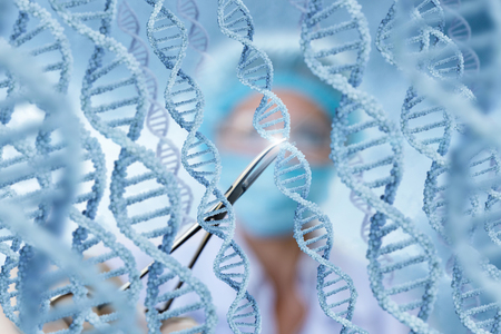 Doctor examines DNA molecules on blurred background.