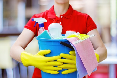 Cleaning lady with a bucket and cleaning products on blurred background. Banque d'images