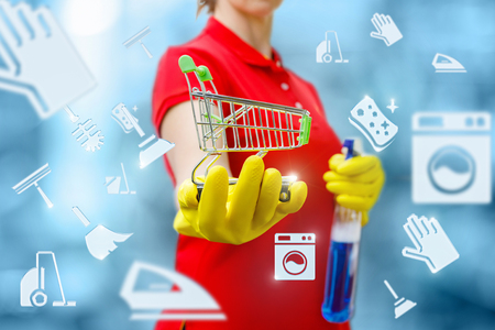 Cleaning lady is holding a basket on the background of the icons of cleaning. Concept shop of household chemicals.
