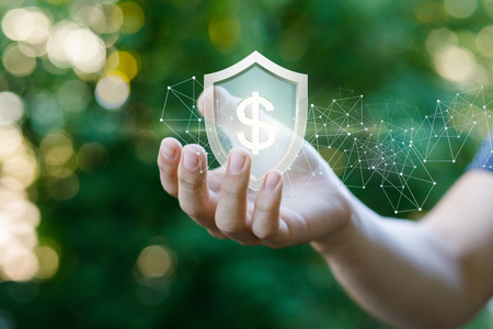 Concept of protection money. Shield with dollar sign in hand on a blurred background.