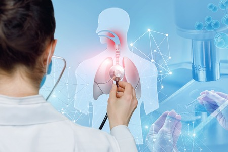 A doctor is standing backside and sounding the lungs of a digital human figure with irritated throat with a stethoscope. The concept of otolaryngology investigations and analysis.