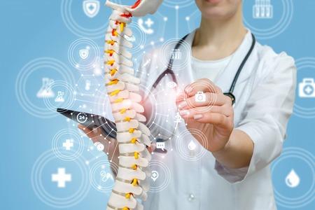 Un primo piano del medico con lo stetoscopio che opera con il modello della colonna vertebrale artificiale che tiene in mano un tablet all'interno di una struttura di servizio medico. Il concetto di approccio innovativo nel trattamento delle malattie della colonna vertebrale.