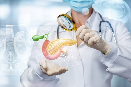 Concept exploration and search problems in the pancreas of the patient. Stock Photo