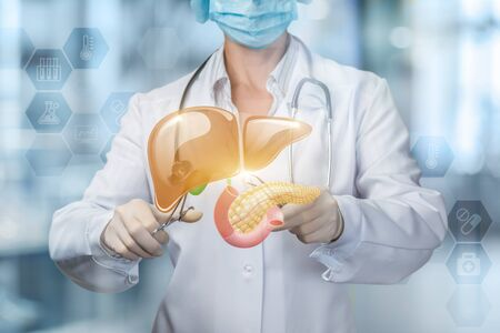 The concept of surgical treatment of liver and pancreas of the patient. Banco de Imagens