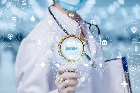 Concept study and diagnosis . Doctor with magnifying glass in hand and the structure of medical icons. Imagens