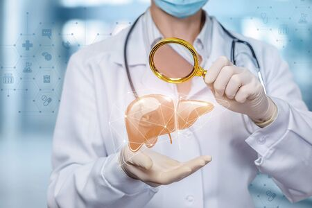 The concept study of the liver. Doctor see on the liver through a magnifying glass.