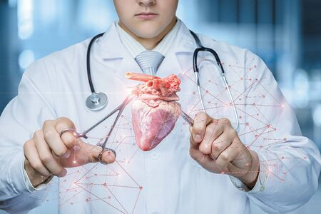 The concept of surgical treatment of the patient heart.