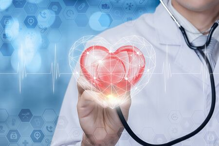 The concept of diagnosis and treatment of the patient heart.