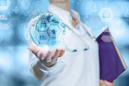 Het concept van wereldwijde gezondheidszorg. De dokter toont een wereldbol met medische iconen.