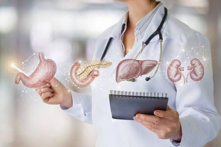 El médico muestra los órganos internos del paciente en el fondo borroso.