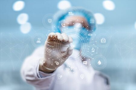 The concept of tablets and medication for effective treatment of the disease. Stockfoto