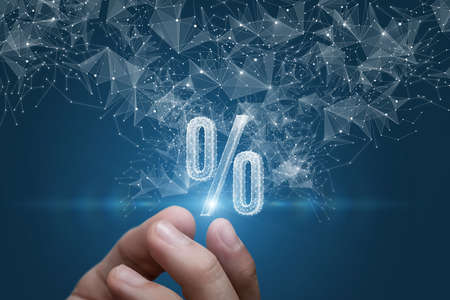 Hand shows a hologram percent on a blue background.