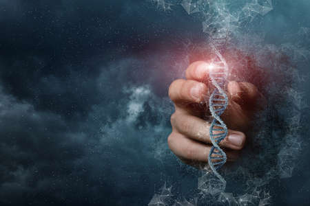 Hand touches the DNA molecule on the background of outer space.