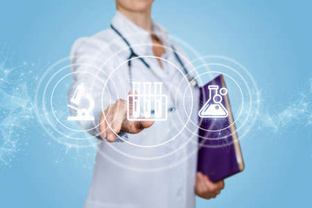 Laboratory research concept. Doctor clicks on a test tube icon on a blue background.