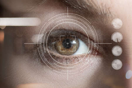 The concept of technology scanning the shell of the eye.