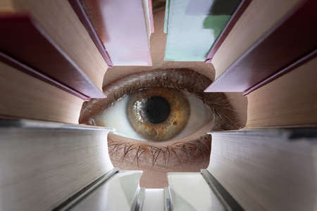 Eye looks through textbooks.Training and search concept.