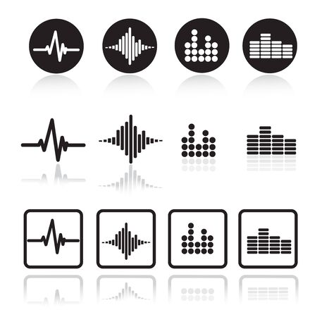 soundwave: Music soundwave icons set.Pulse icons set. Illustration