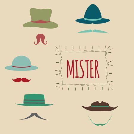 retro design elements: Retro design elements, hats, mustaches. Illustration