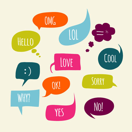 balloons: Speech bubbles set with short messages.