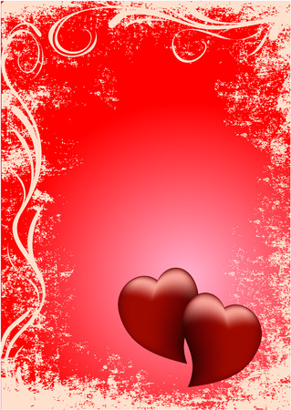 card two red hearts, two red hearts, grunge style, red background, valentine s day, postcard, greeting Vector