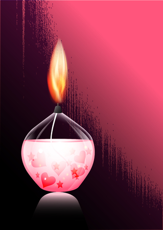 inviting: romantic candle, romantic evening, heart, star, love, card in grunge style, inviting, bright flame of a candle, candle, gel, light for lovers, valentine s day Illustration