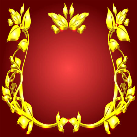 beautyful: rich gold monogram floral pattern on red background