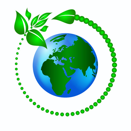 green leaves with an arrow around the planet earth to protect the ecology Vector