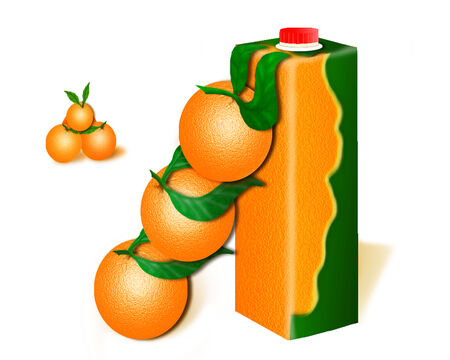 three ripe oranges tend to become natural juice photo