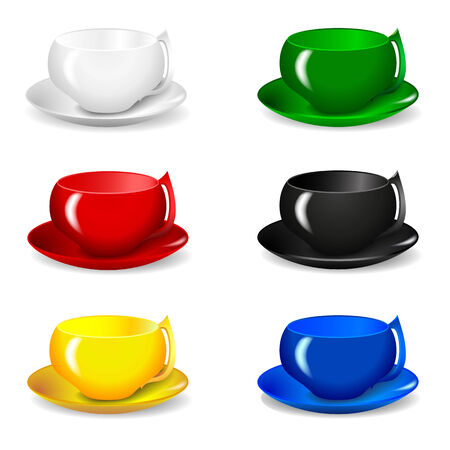 et of six beautiful multicolored cups for tea and coffee isolation Vector