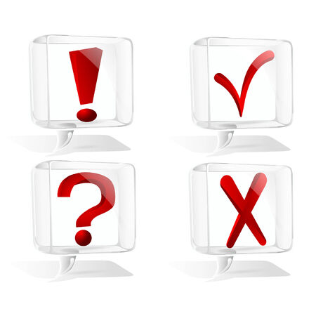 icon transparent cloud thoughts with red marks inside Vector
