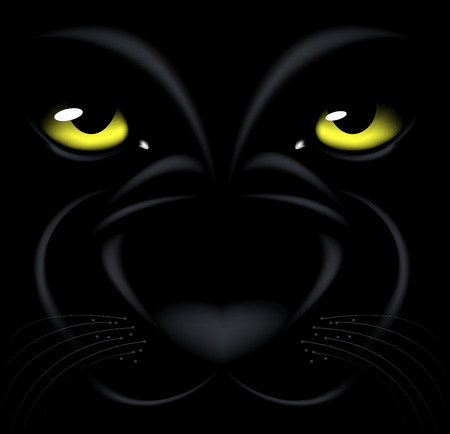 beautiful black background with yellow eyes and muzzle Panthers Vector