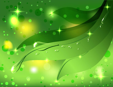astraktny beautiful background with green leaves and dew drops Illustration