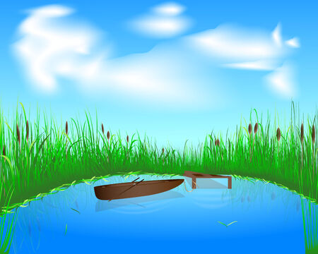 bulrush: blue lake with grass and boat on the blue sky background