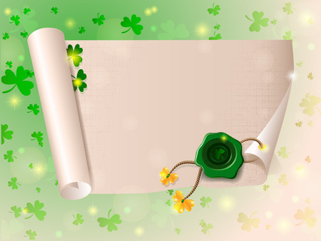 sealing wax: scroll paper with seal of sealing wax mark St. Patricks Day beautiful background with shamrocks