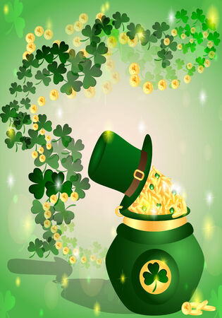 pot with coins mark St. Patrick's background with beautiful pattern of shamrocks Vector