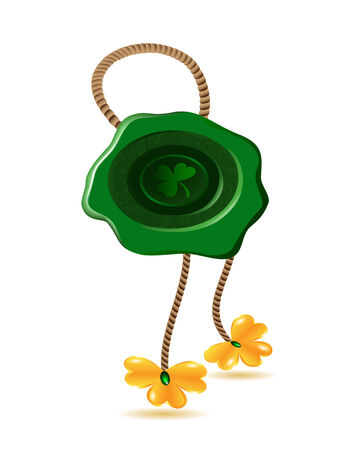 wax seal of St. Partick holiday symbol with gold shamrocks Vector