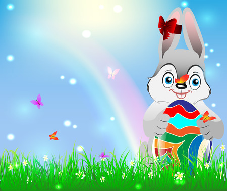 Easter bunny holding Easter egg against a background of blue sky and green grass rainbow Vector