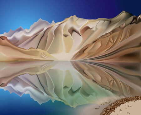 mountain on the background of blue sky reflected in the clear water Vector