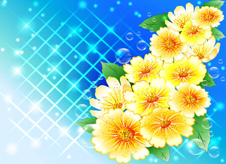 bouquet of yellow flowers on a blue abstract background   Vector