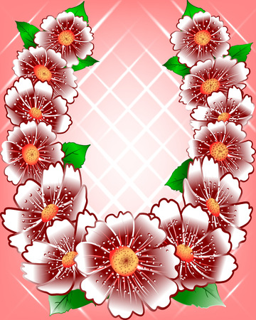 red abstract background: bouquet of white flowers on a red abstract background   Illustration