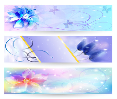 beautiful abstract background with soft bright flowers glowing stars and sparks banner Vector