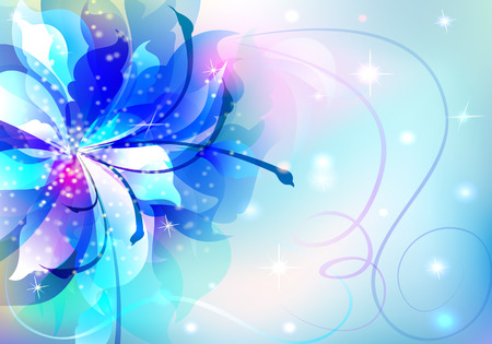 beautiful abstract background with soft bright flowers glowing stars and sparks Vector