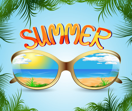 sunglasses with reflection summer seascape and palm trees Vector