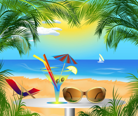 sunny beach: beautiful card with summer sea beach scenery and recreation Illustration
