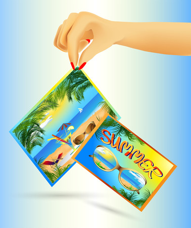 Cards in hand with summer sea beach scenery and recreation Vector
