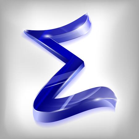 greek alphabet: beautiful transparent Greek letter sigma blue glass