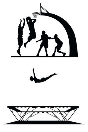 baloncesto chica: conjunto de siluetas de deporte