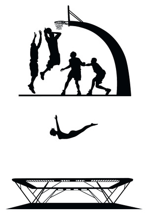 trampoline: set of sport silhouettes Illustration