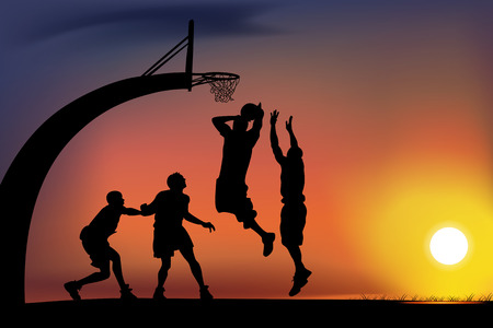 cancha de basquetbol: Partido de baloncesto Vectores