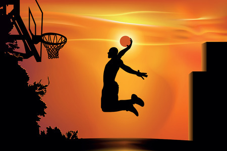 athlete playing basketball in the street at sunset Vectores